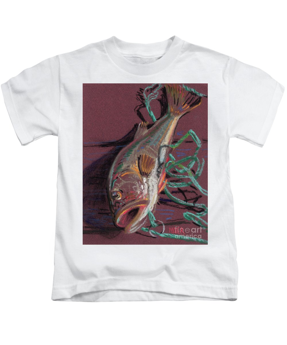 Bass Kids T-Shirt featuring the painting Louie's Catch by Donald Maier