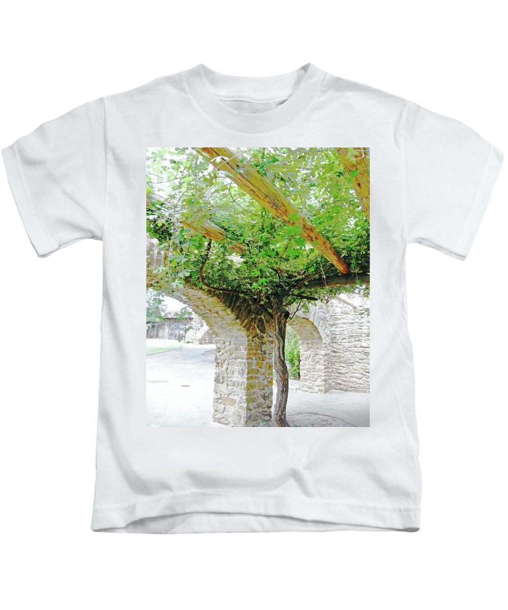 Vine Kids T-Shirt featuring the digital art Mission San Jose San Antonio Texas by Lizi Beard-Ward