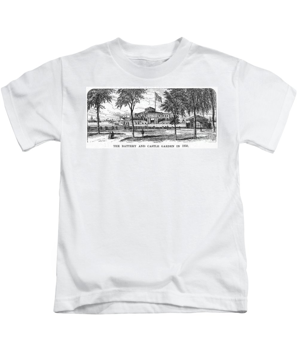 1850 Kids T-Shirt featuring the photograph New York: Castle Garden by Granger