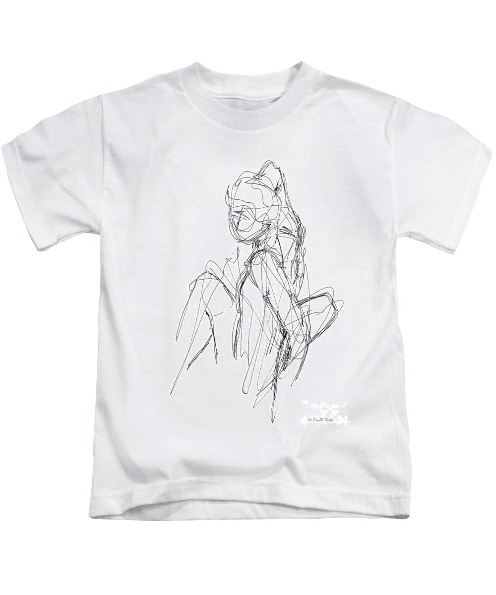 Male Sketches Kids T-Shirt featuring the drawing Nude Male Sketches 3 by Gordon Punt