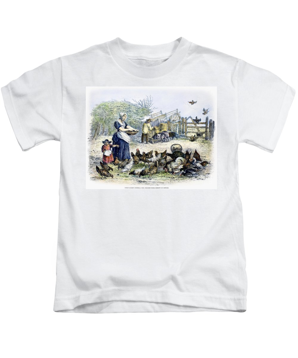 1847 Kids T-Shirt featuring the photograph Poultry Yard, 1847 by Granger