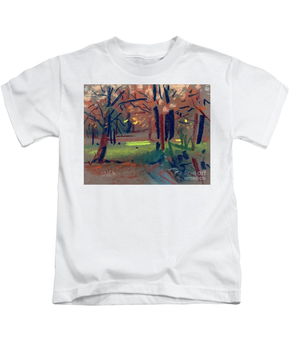 Pastel Kids T-Shirt featuring the painting Spring Meadow by Donald Maier