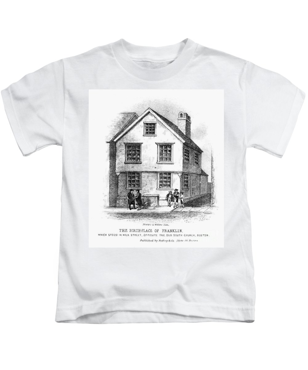 18th Century Kids T-Shirt featuring the photograph Benjamin Franklin by Granger