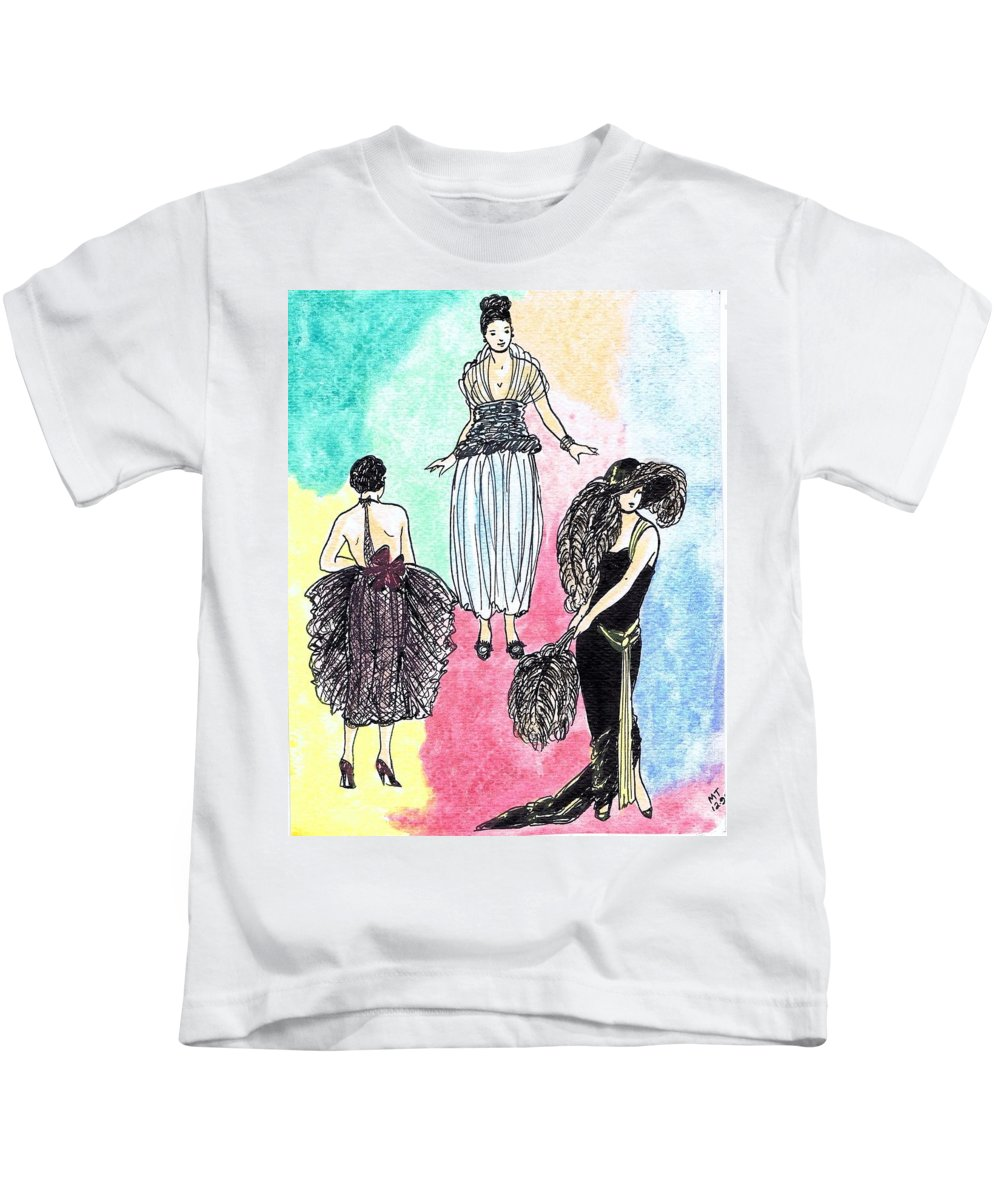 Nostalgia Kids T-Shirt featuring the drawing 1920s Gals 4 by Mel Thompson