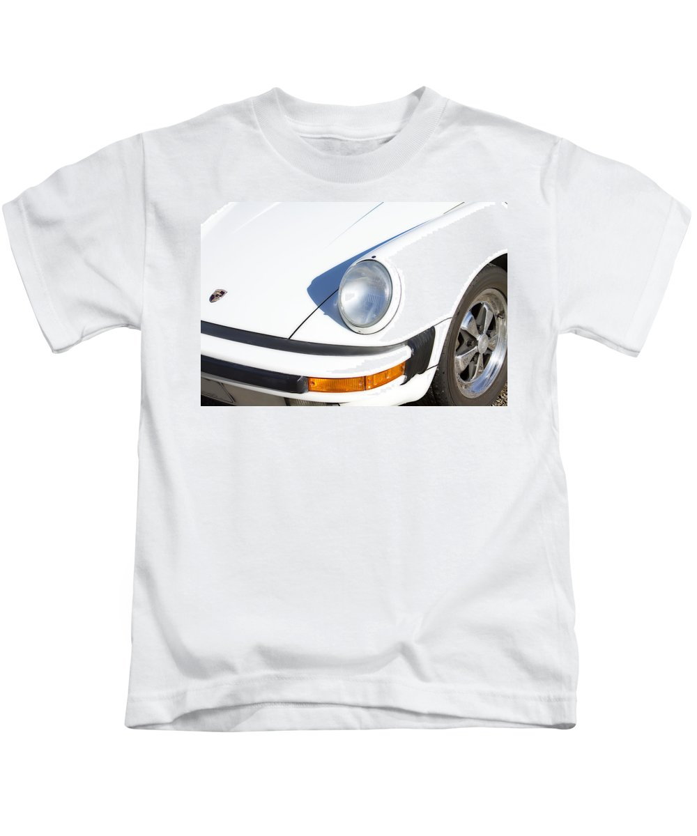 1987 Kids T-Shirt featuring the photograph 1987 White Porsche 911 Carrera Front by James BO Insogna