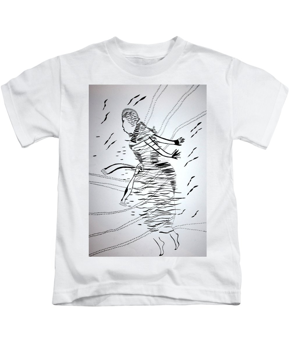 Jesus Kids T-Shirt featuring the drawing Kiganda Dance - Uganda by Gloria Ssali