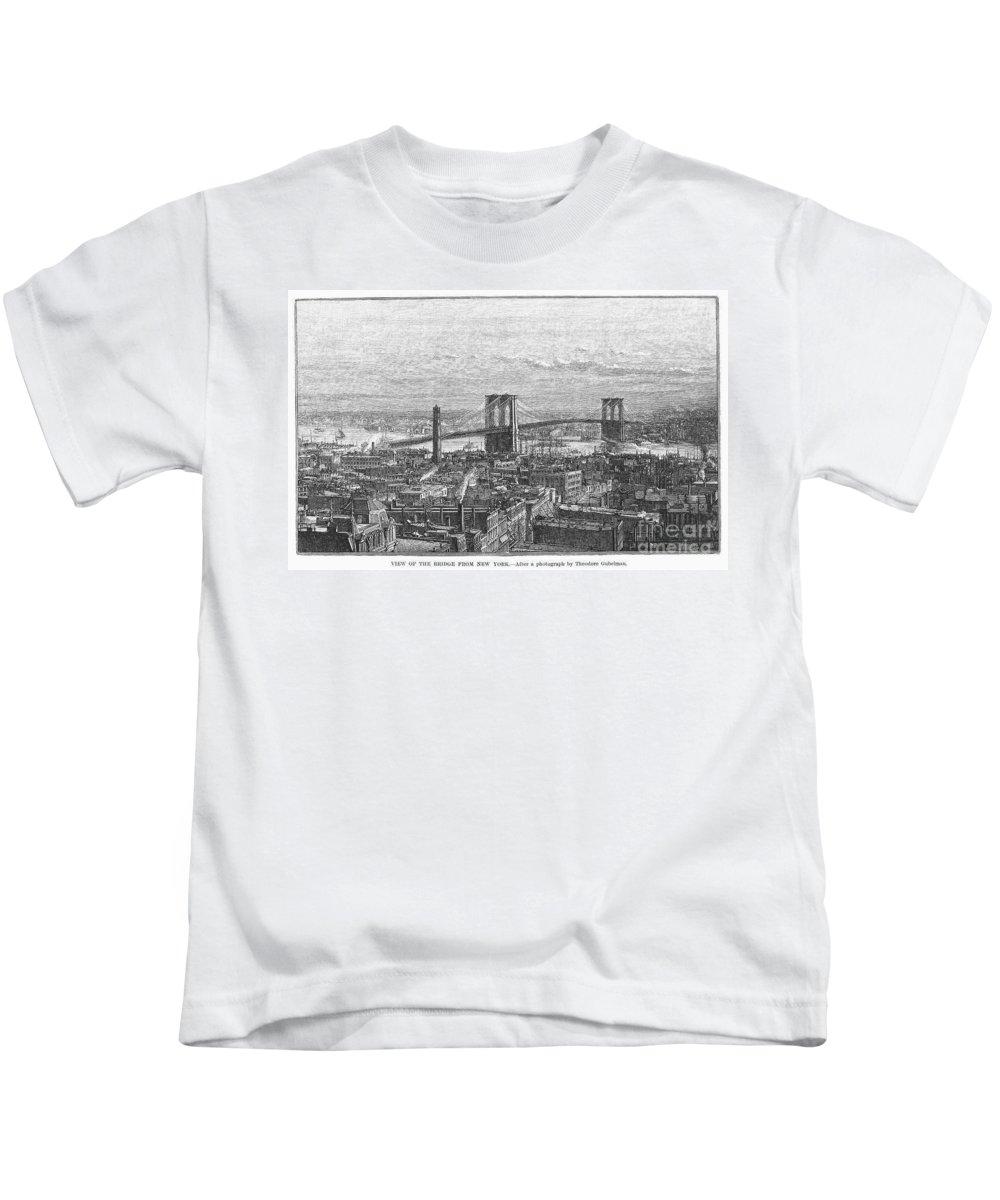 1883 Kids T-Shirt featuring the photograph Brooklyn Bridge, 1883 by Granger
