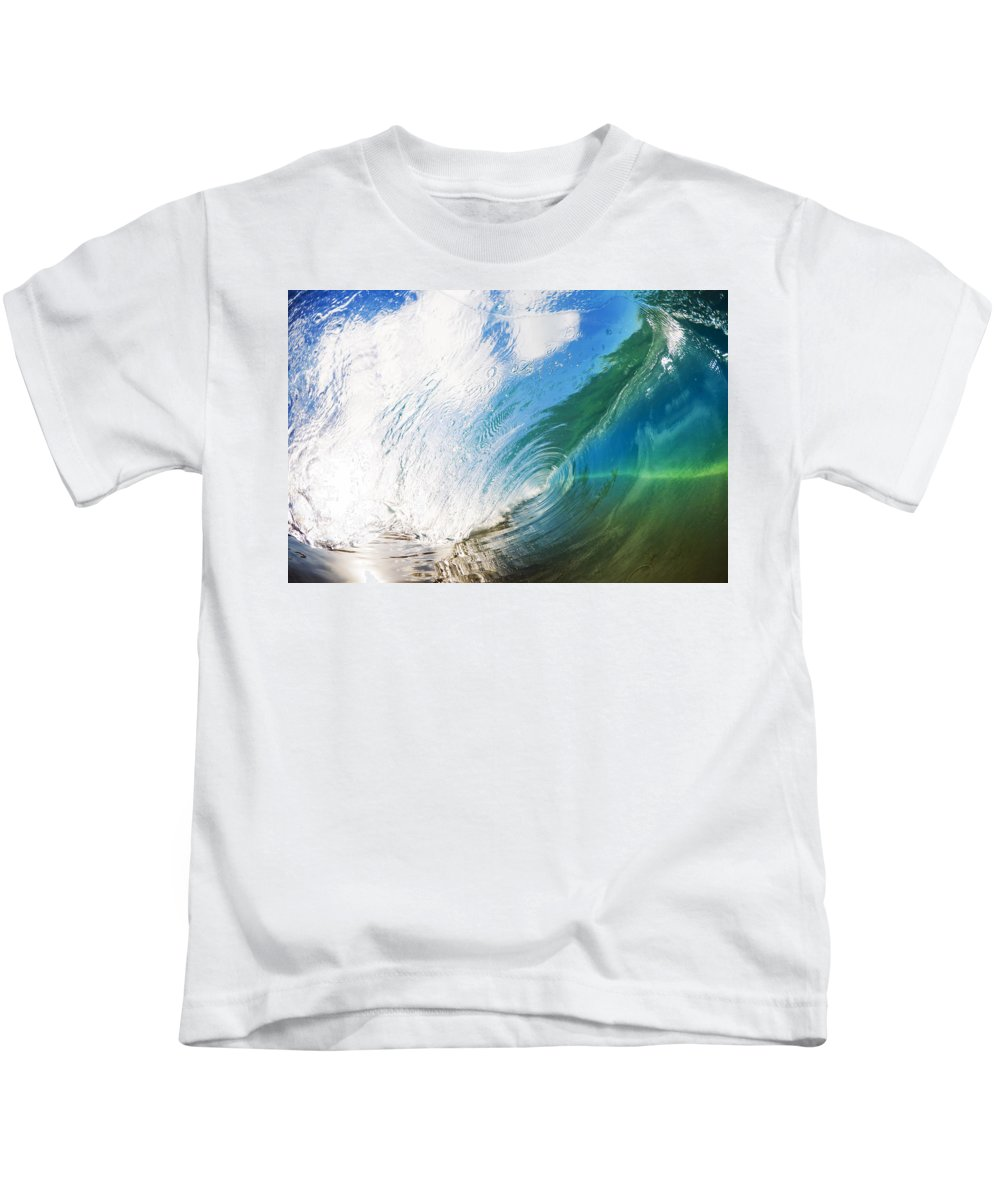 Amazing Kids T-Shirt featuring the photograph Glassy Breaking Wave by MakenaStockMedia - Printscapes