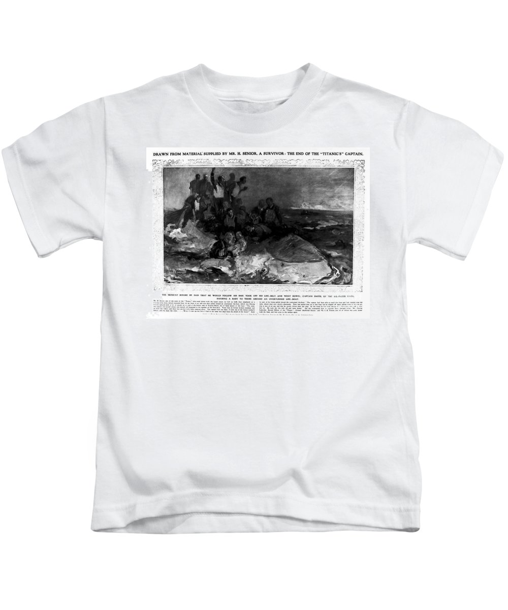 1912 Kids T-Shirt featuring the photograph Titanic: Sinking, 1912 by Granger