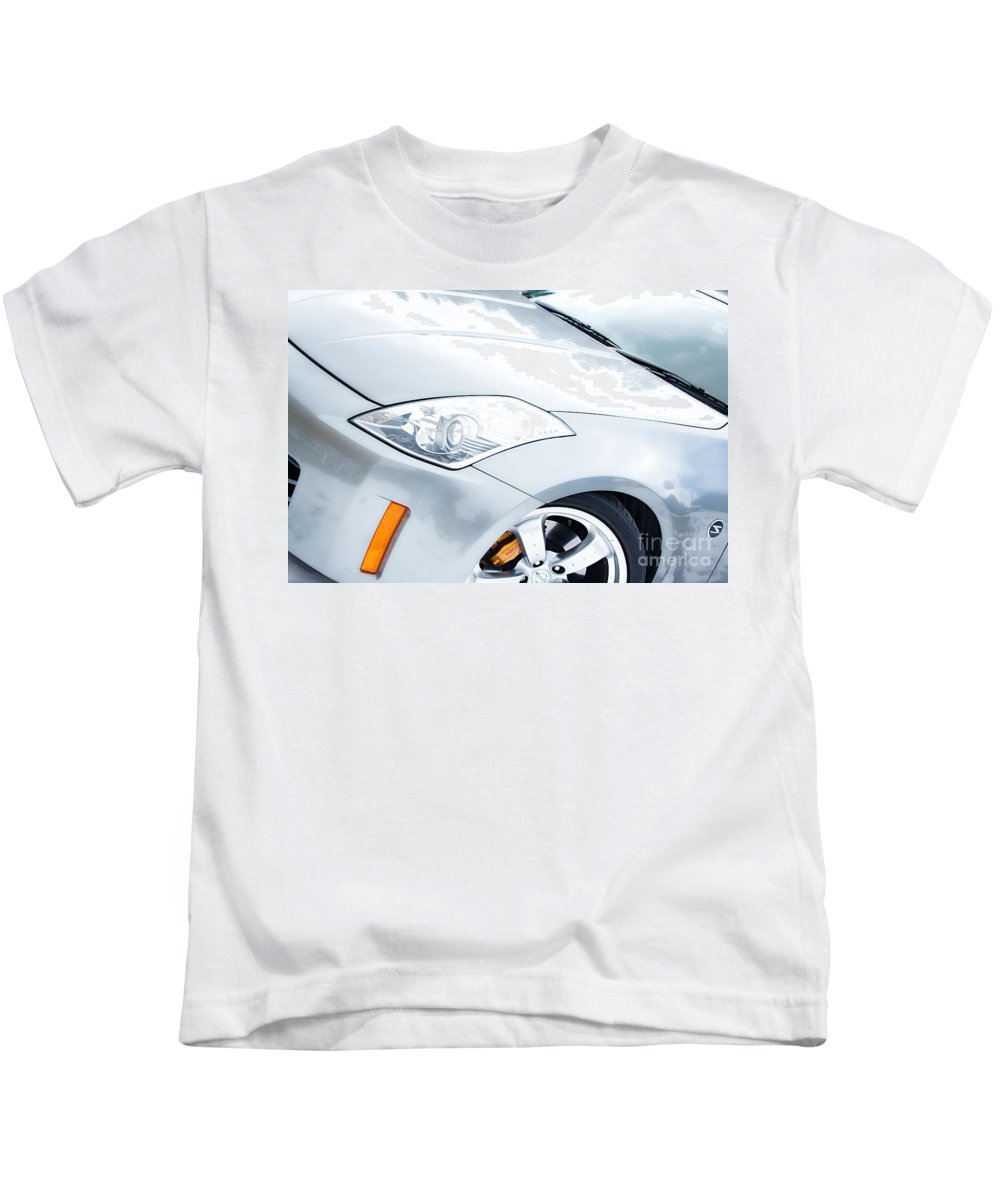 Automobiles Kids T-Shirt featuring the photograph 350z Car Front Close-up by James BO Insogna
