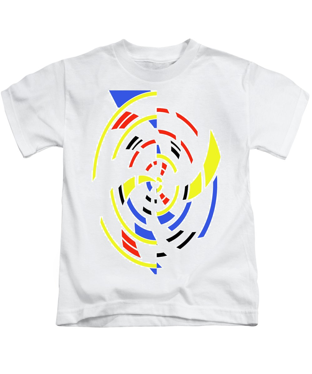 Form Forms Black White Triangle Geometric Abstract Art Minimalism Spiral Digital Painting Color Colorful Kids T-Shirt featuring the digital art 4 Colors Abstract by Steve K