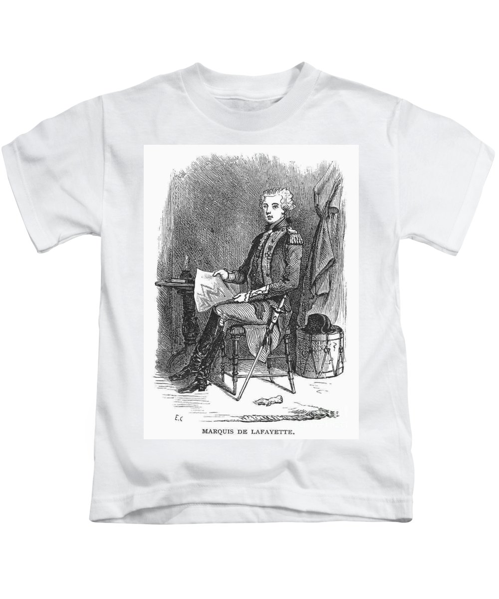 18th Century Kids T-Shirt featuring the photograph Marquis De Lafayette by Granger