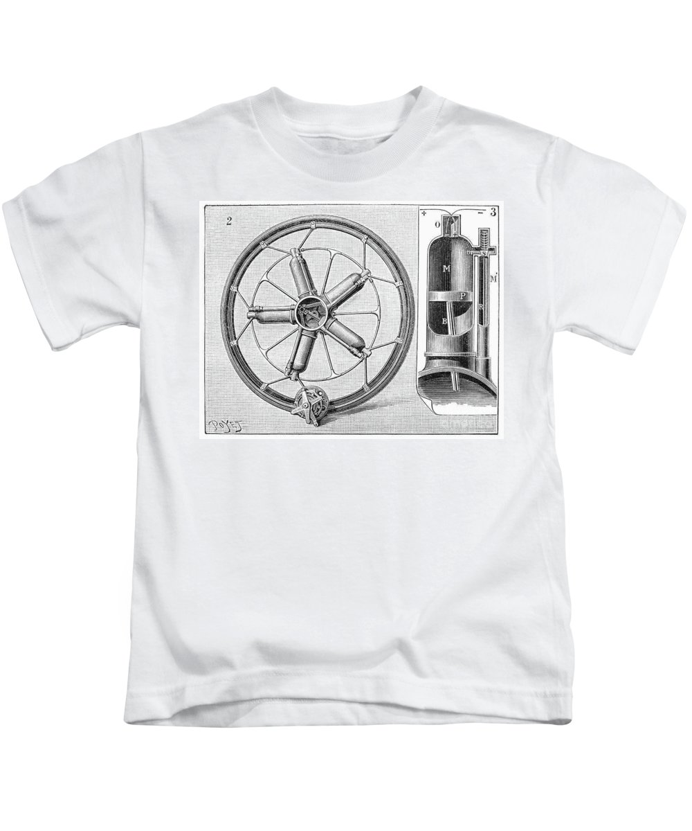 1895 Kids T-Shirt featuring the photograph Motorcycle, 1895 by Granger