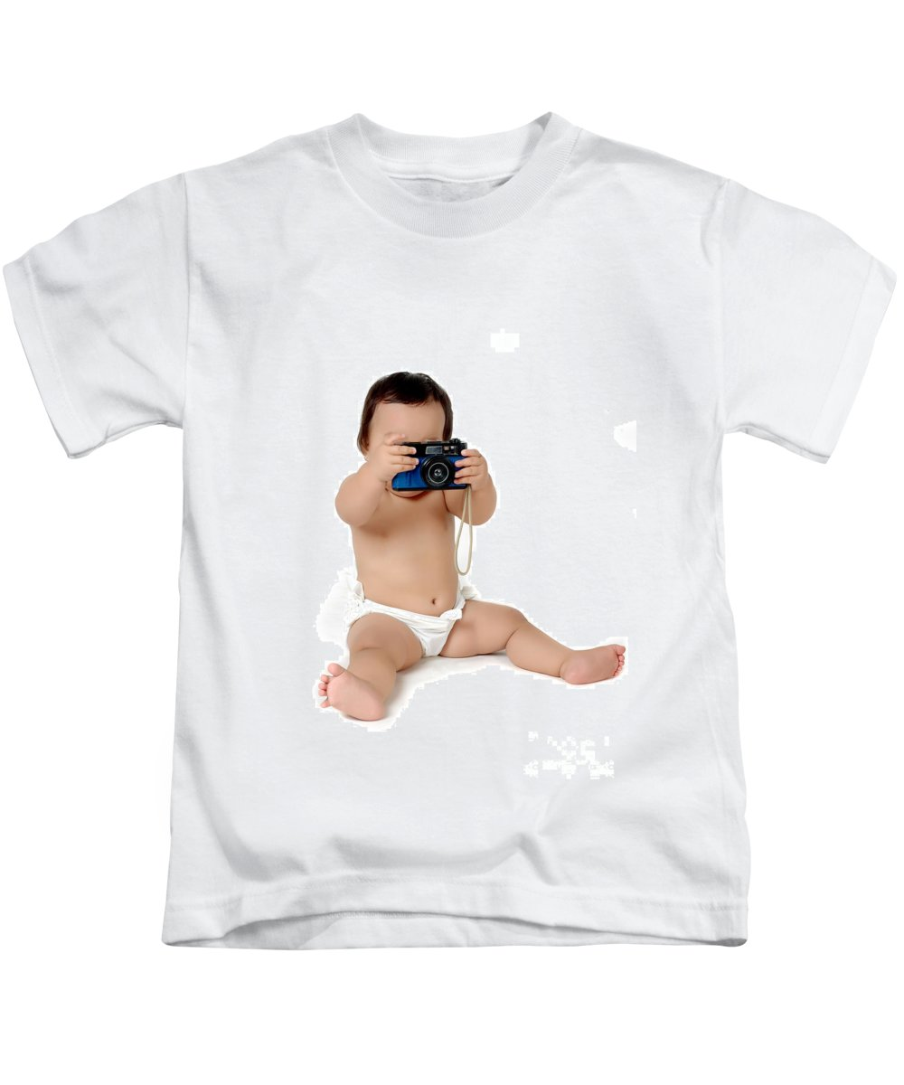 Baby Kids T-Shirt featuring the photograph A Chubby Little Girl Photograph With Vintage Camera by Antoni Halim