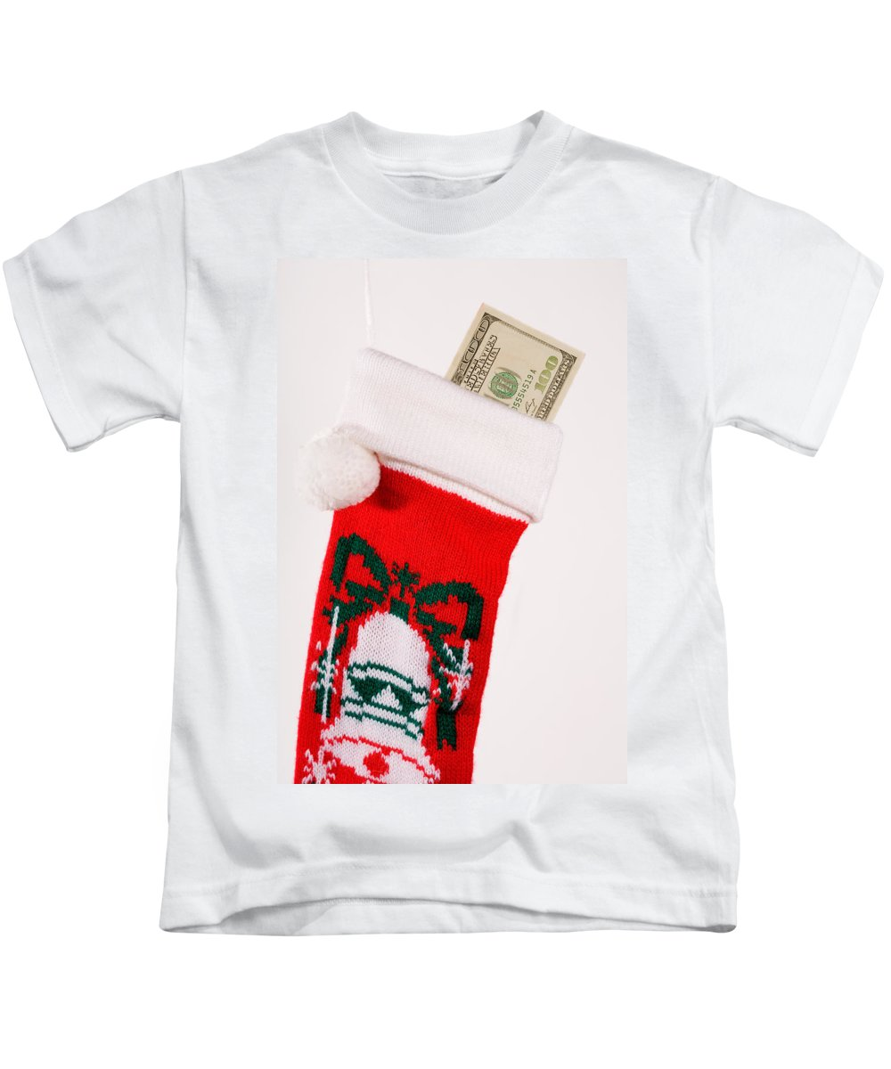 Surprise Kids T-Shirt featuring the photograph A Gift From Santa by Diane Macdonald
