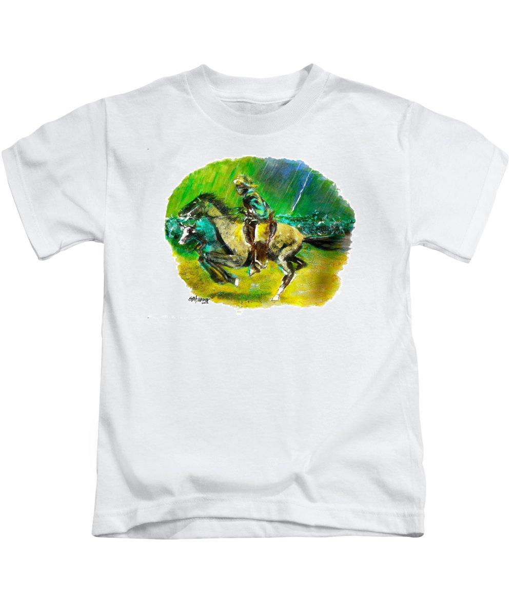A Study Of Remington Kids T-Shirt featuring the painting A Study of Remington by Seth Weaver