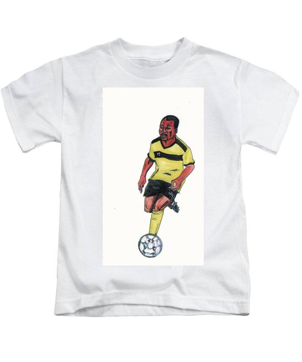 Portraits Kids T-Shirt featuring the painting Abedi Pele by Emmanuel Baliyanga