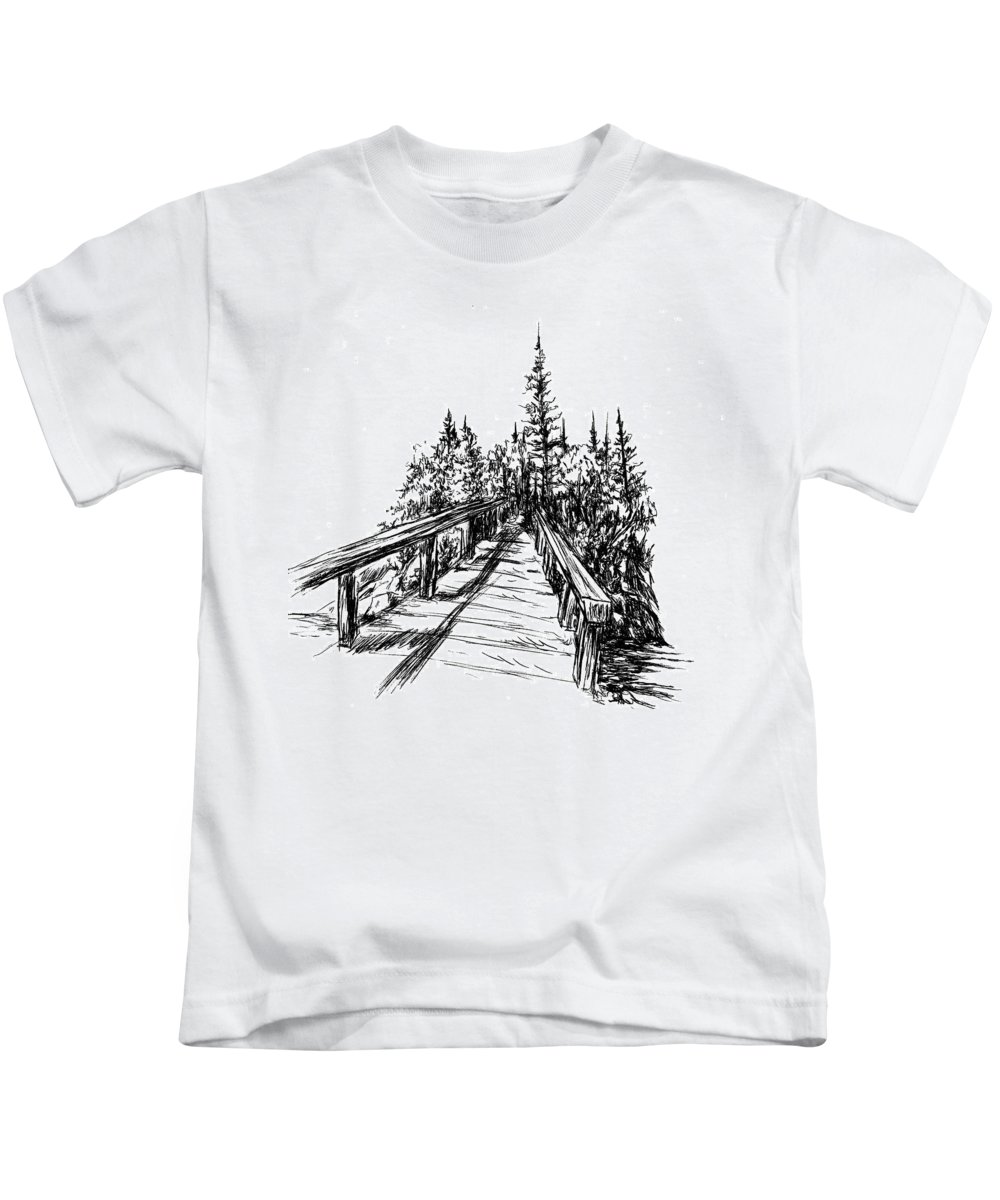 Bridge Kids T-Shirt featuring the drawing Across The Bridge by Alice Chen