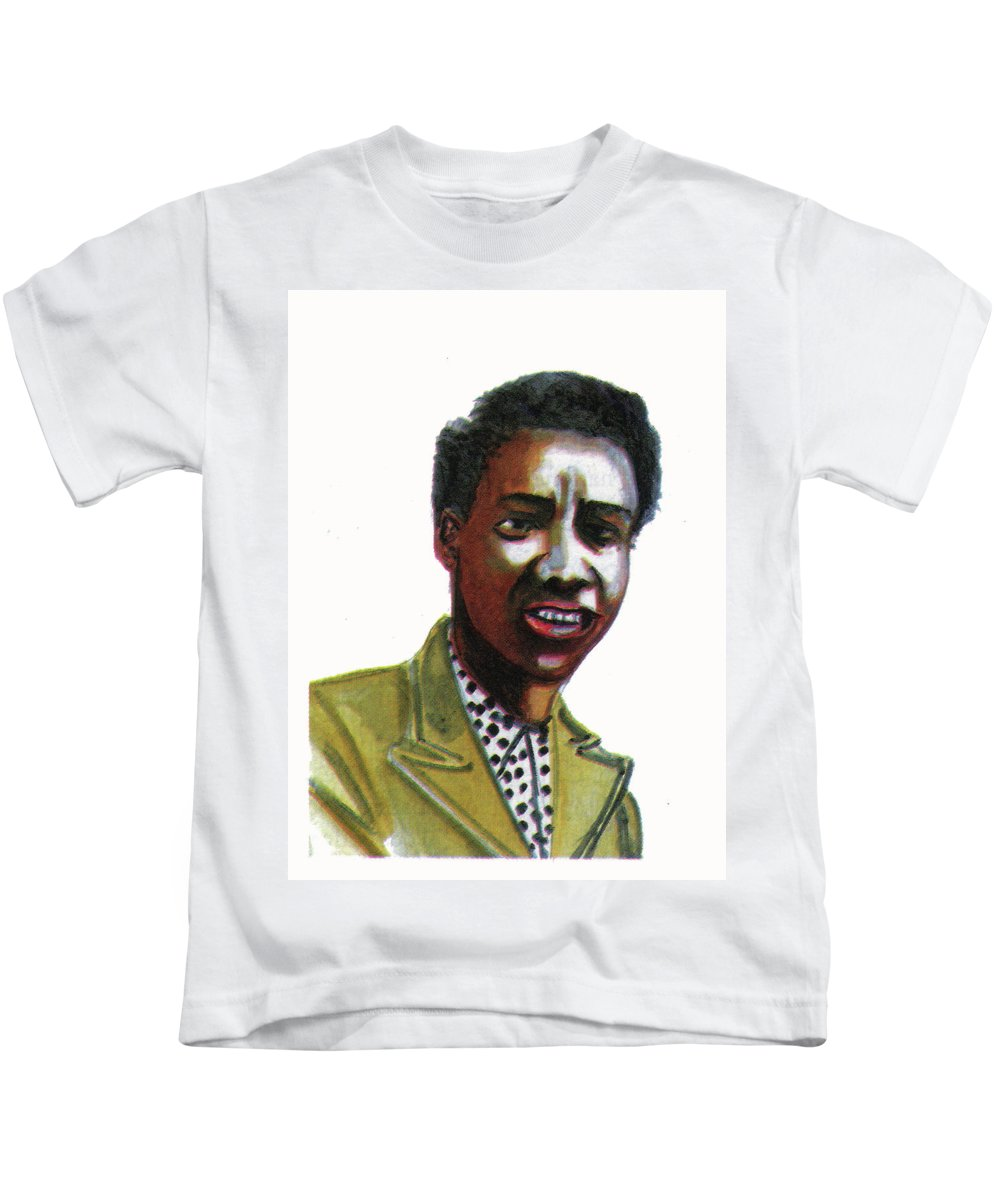 Portraits Kids T-Shirt featuring the painting Althea Gibson by Emmanuel Baliyanga