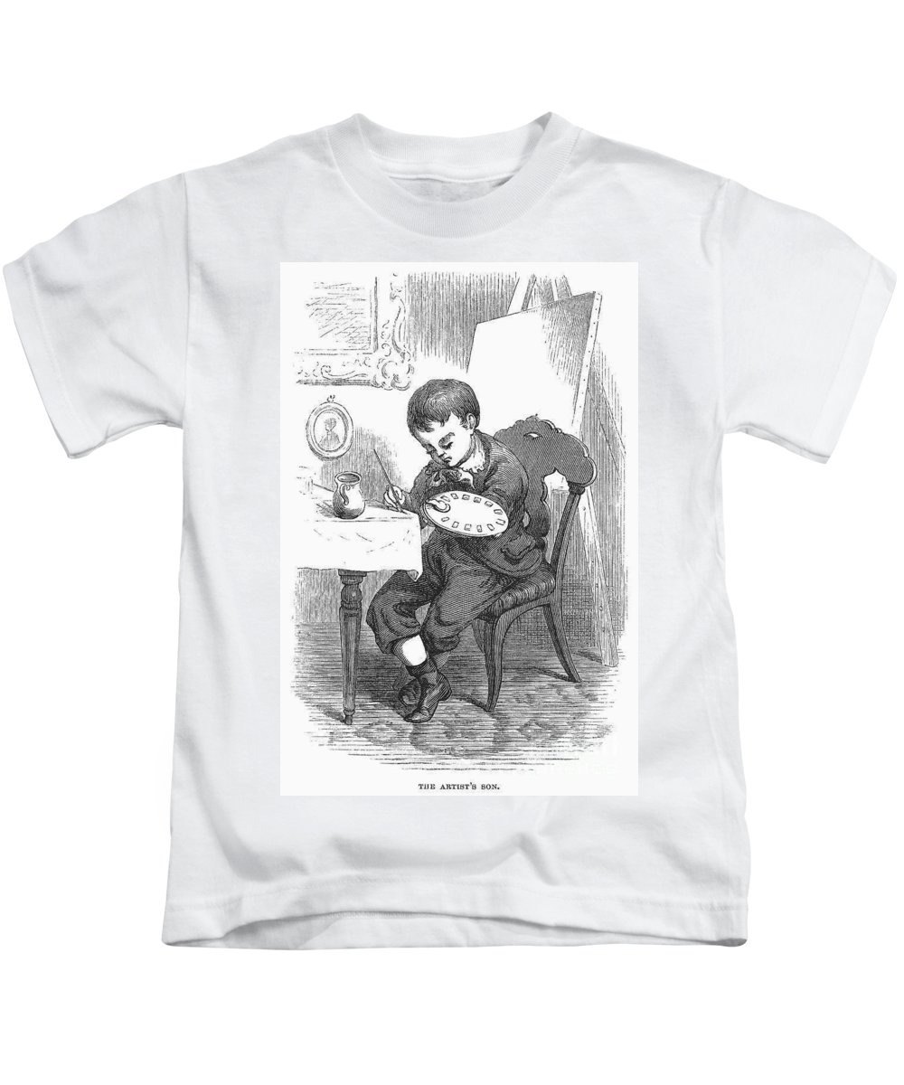 1876 Kids T-Shirt featuring the photograph Artists Son by Granger