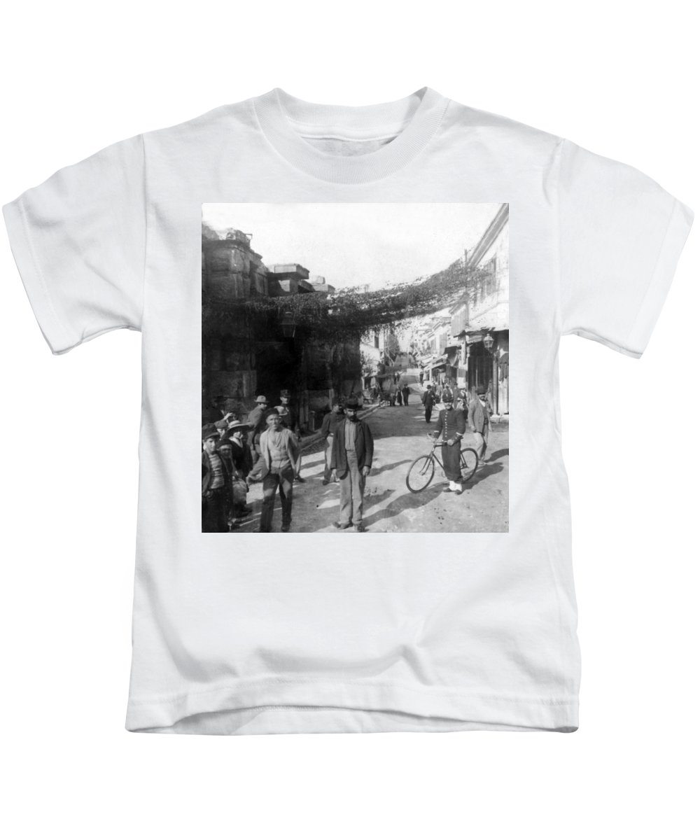 athens Greece Kids T-Shirt featuring the photograph Athens Greece C 1903 - Aeolos Street And The Stoa Of Hadrian by International Images