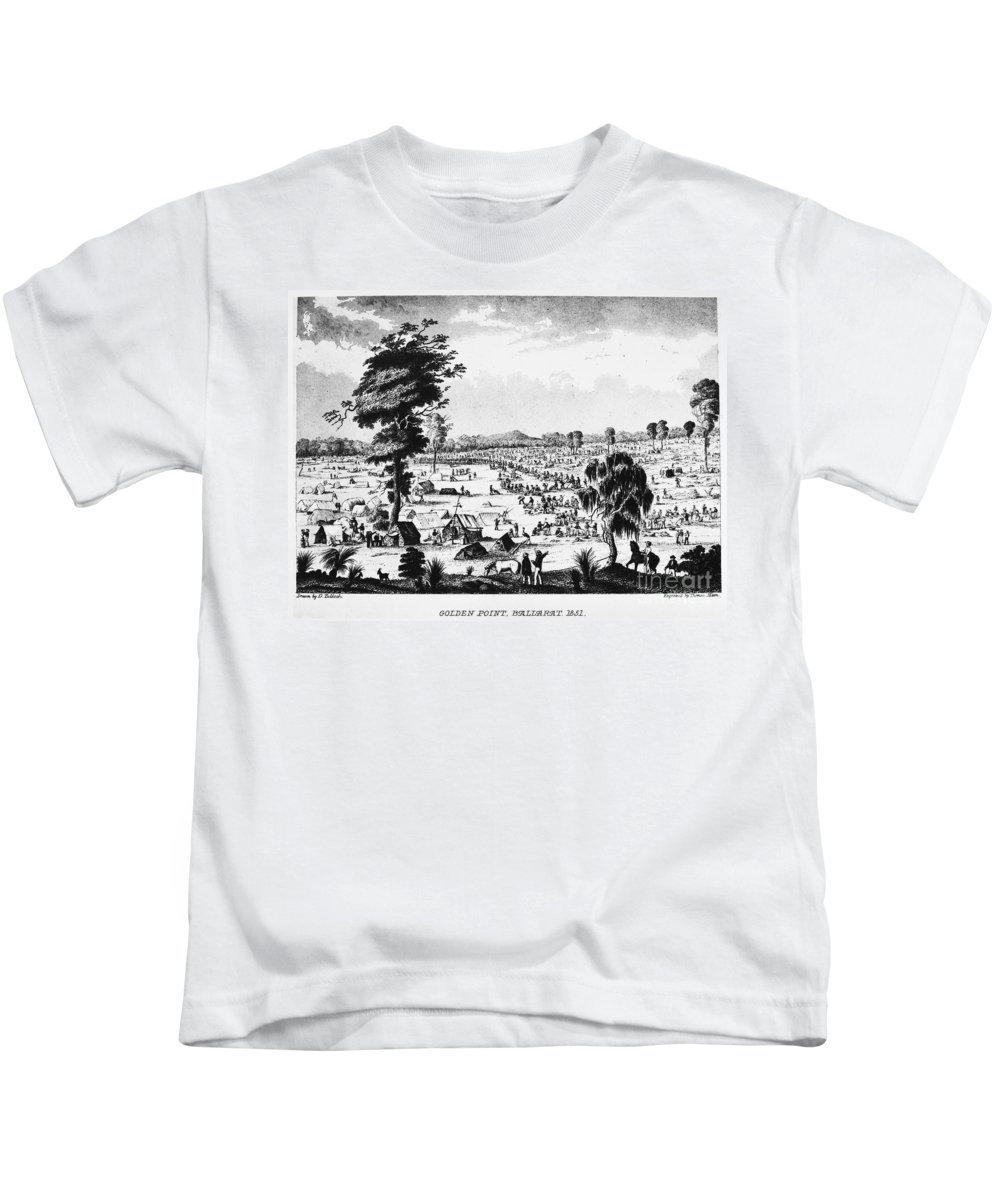 1851 Kids T-Shirt featuring the photograph Australia: Gold Rush, 1851 by Granger