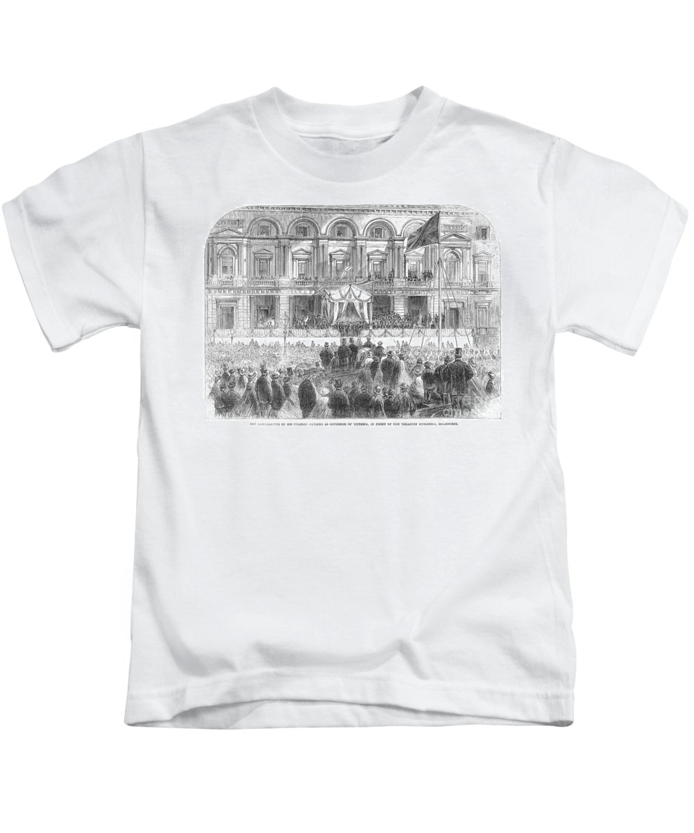 1863 Kids T-Shirt featuring the photograph Australia: Melbourne, 1863 by Granger