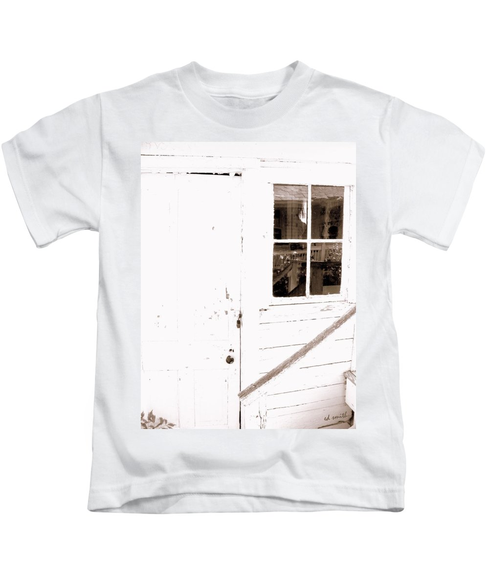 Back Porch Reflections Kids T-Shirt featuring the photograph Back Porch Reflections by Edward Smith