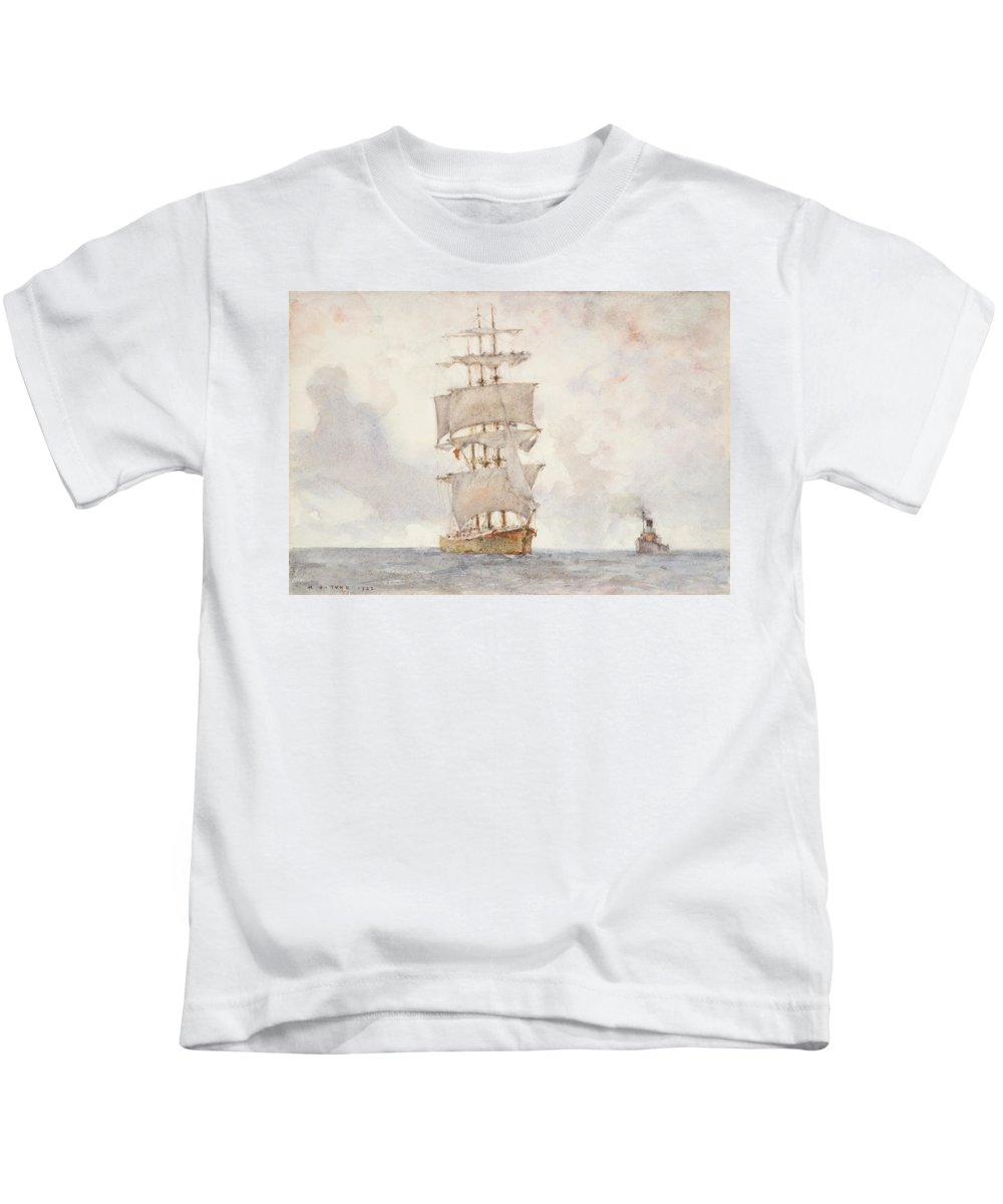 Sailing Boat; Ship; Sails; Square Rigger; Newlyn School Kids T-Shirt featuring the painting Barque And Tug by Henry Scott Tuke