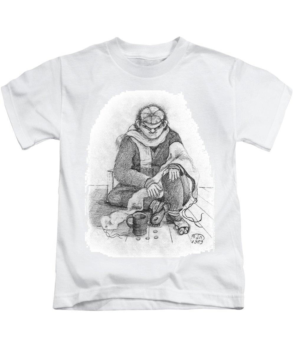 Beggar Kids T-Shirt featuring the painting Beggar 2 In The Winter Street Sitting On Floor Wearing Worn Out Cloths by Rachel Hershkovitz