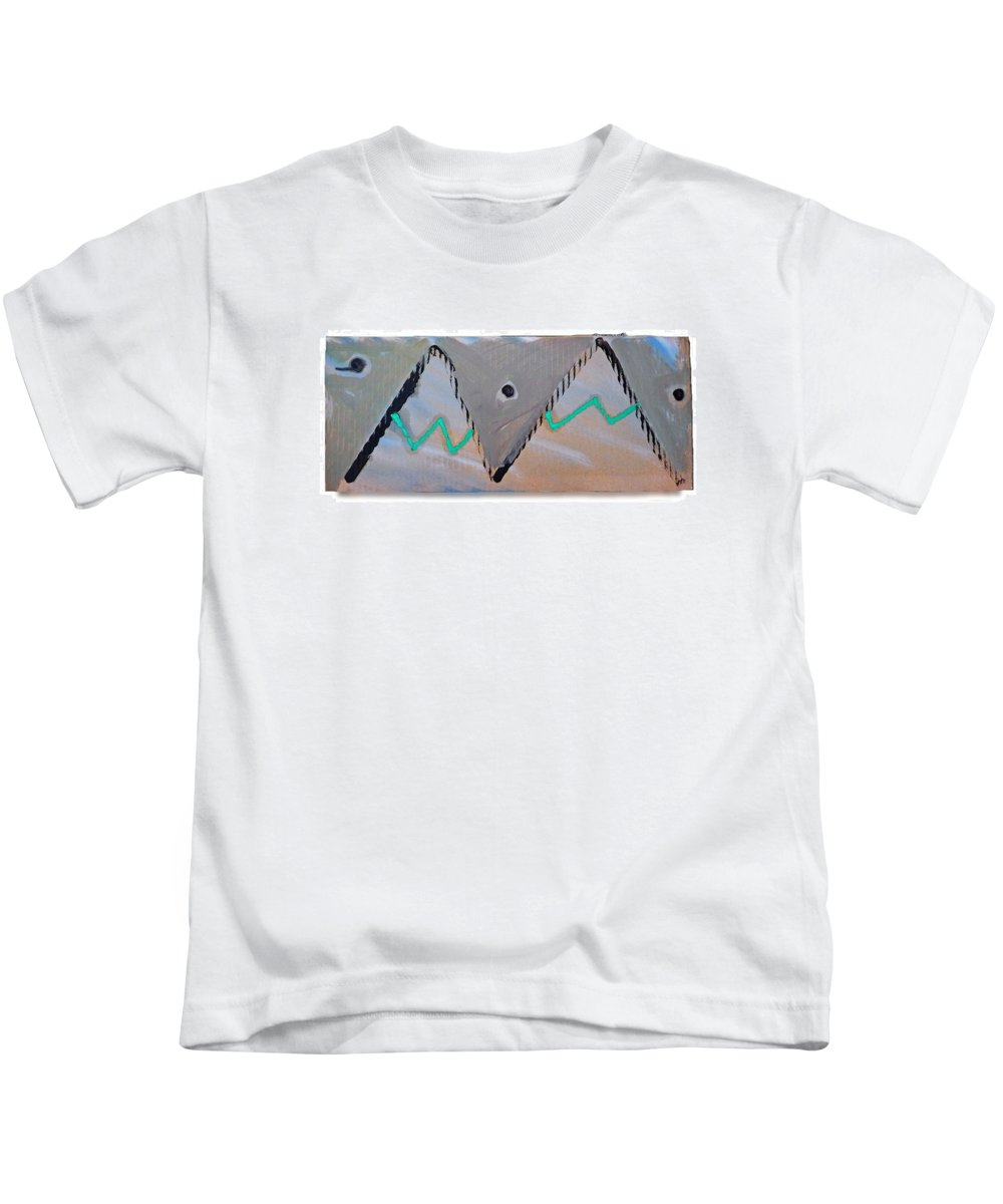 Tsunami Kids T-Shirt featuring the painting Between The Mountains And The Fishes by Charles Stuart