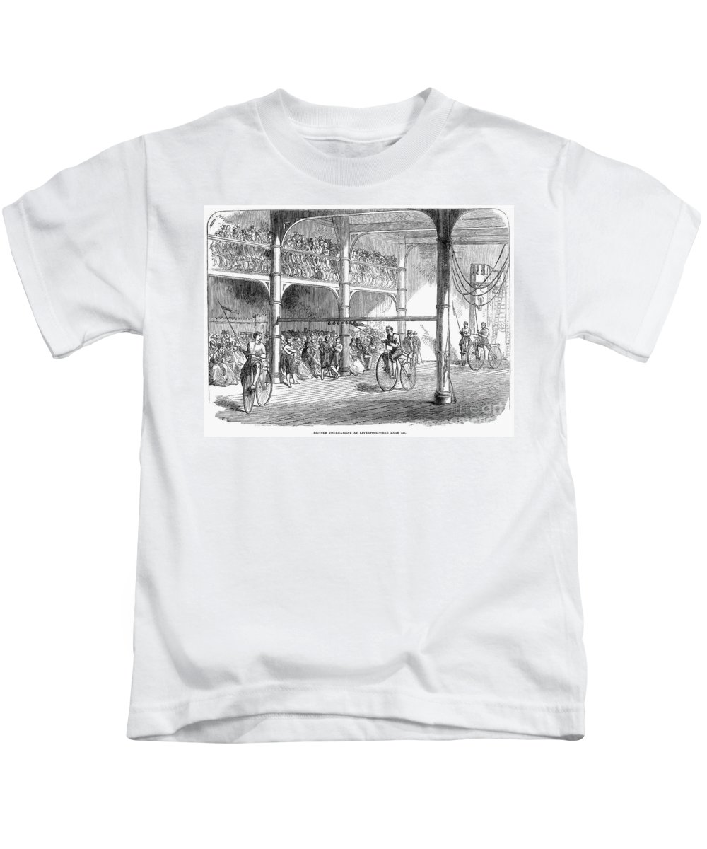 1869 Kids T-Shirt featuring the photograph Bicycle Tournament, 1869 by Granger