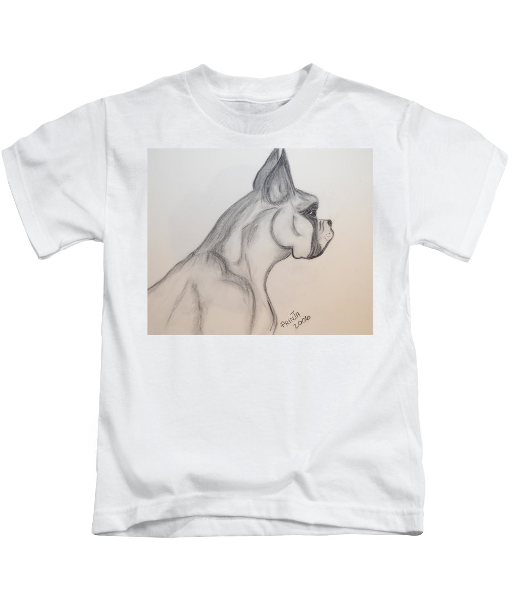 Boxer Kids T-Shirt featuring the drawing Big Boxer by Maria Urso