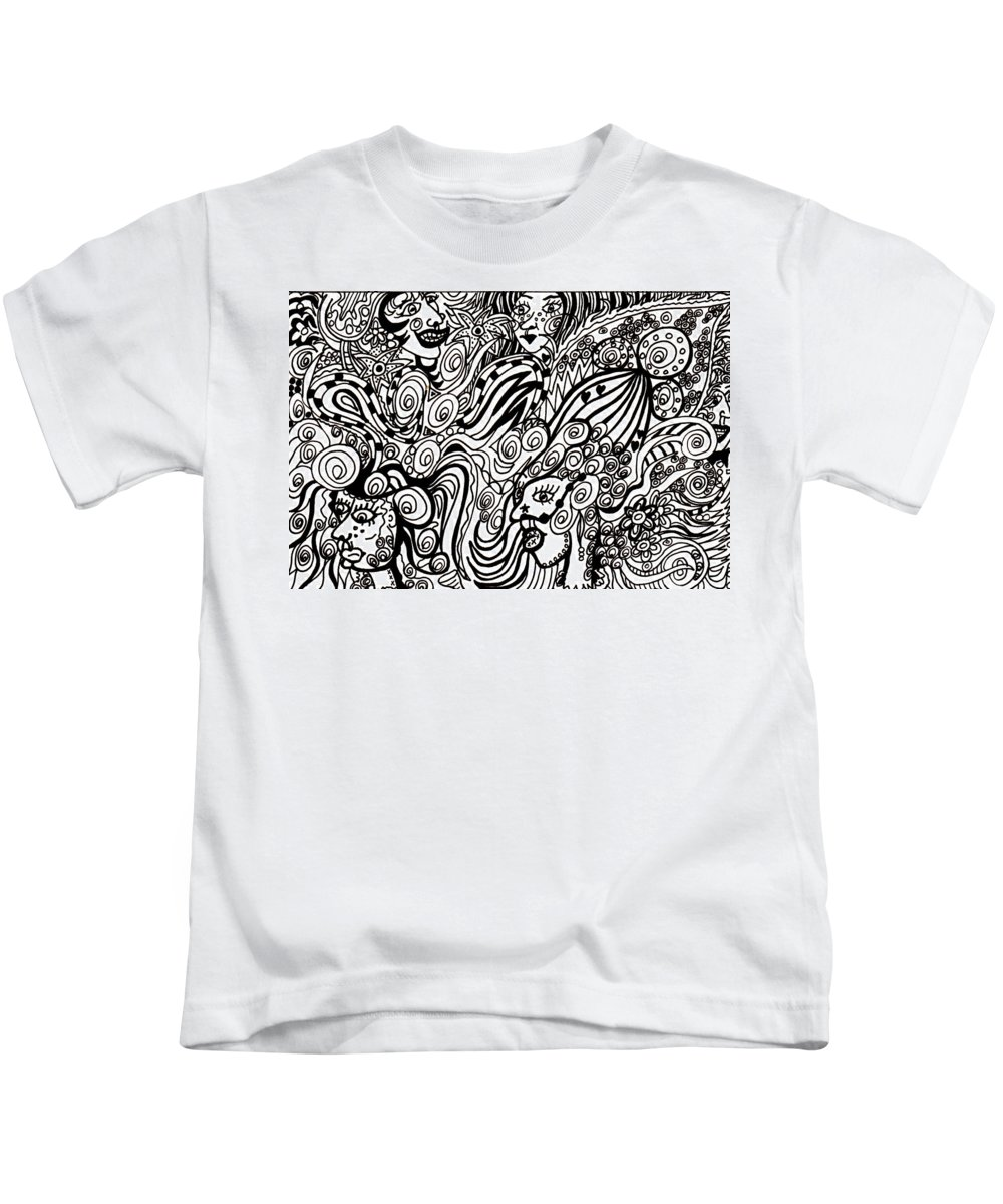Doodle Kids T-Shirt featuring the drawing Blowing In The Breeze by Karen Elzinga