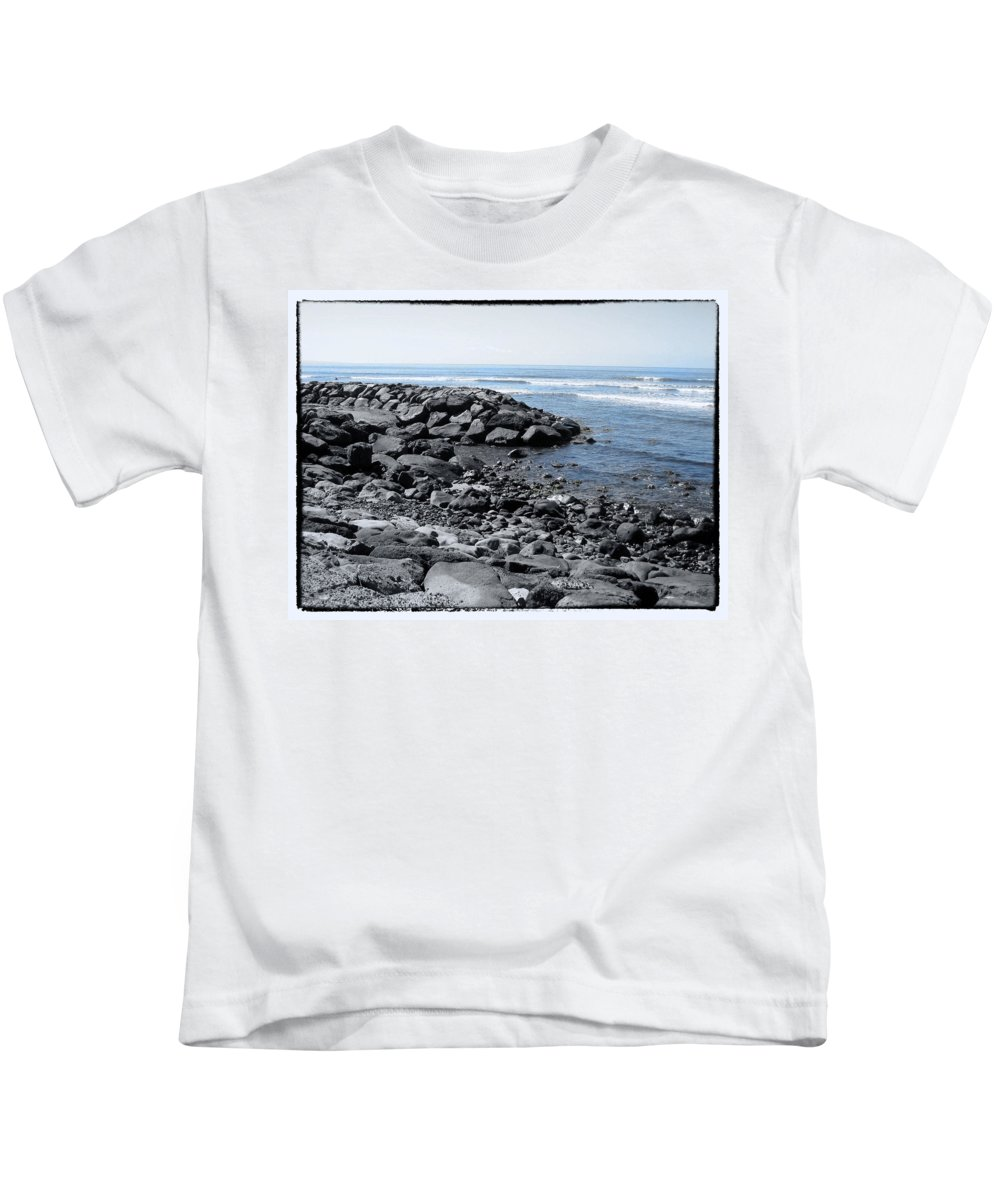 Lava Rocks Kids T-Shirt featuring the photograph Blue Pacific by Linda Dunn