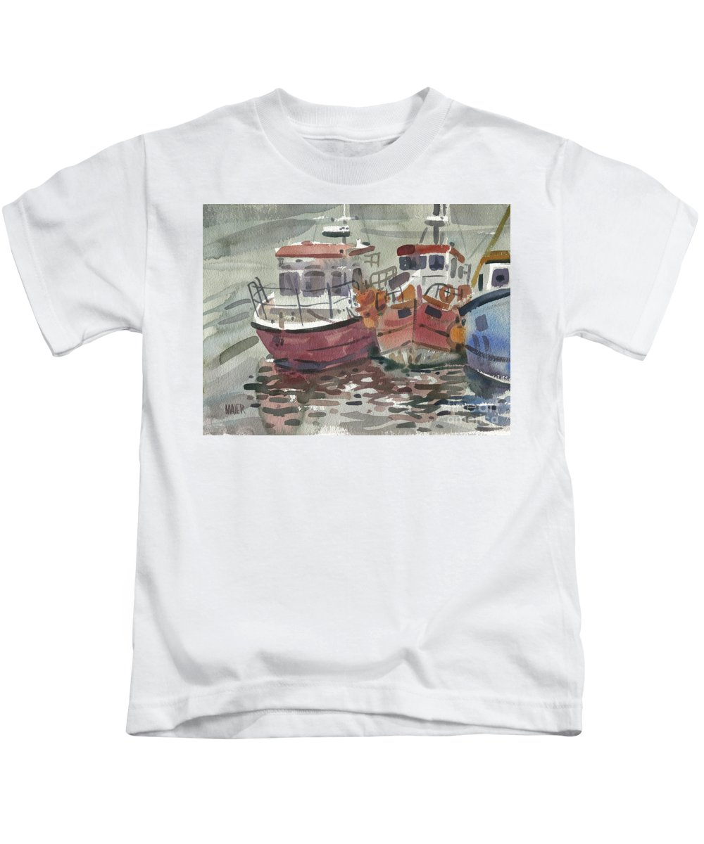 Fishing Kids T-Shirt featuring the painting Boats at Kilmore Quay by Donald Maier
