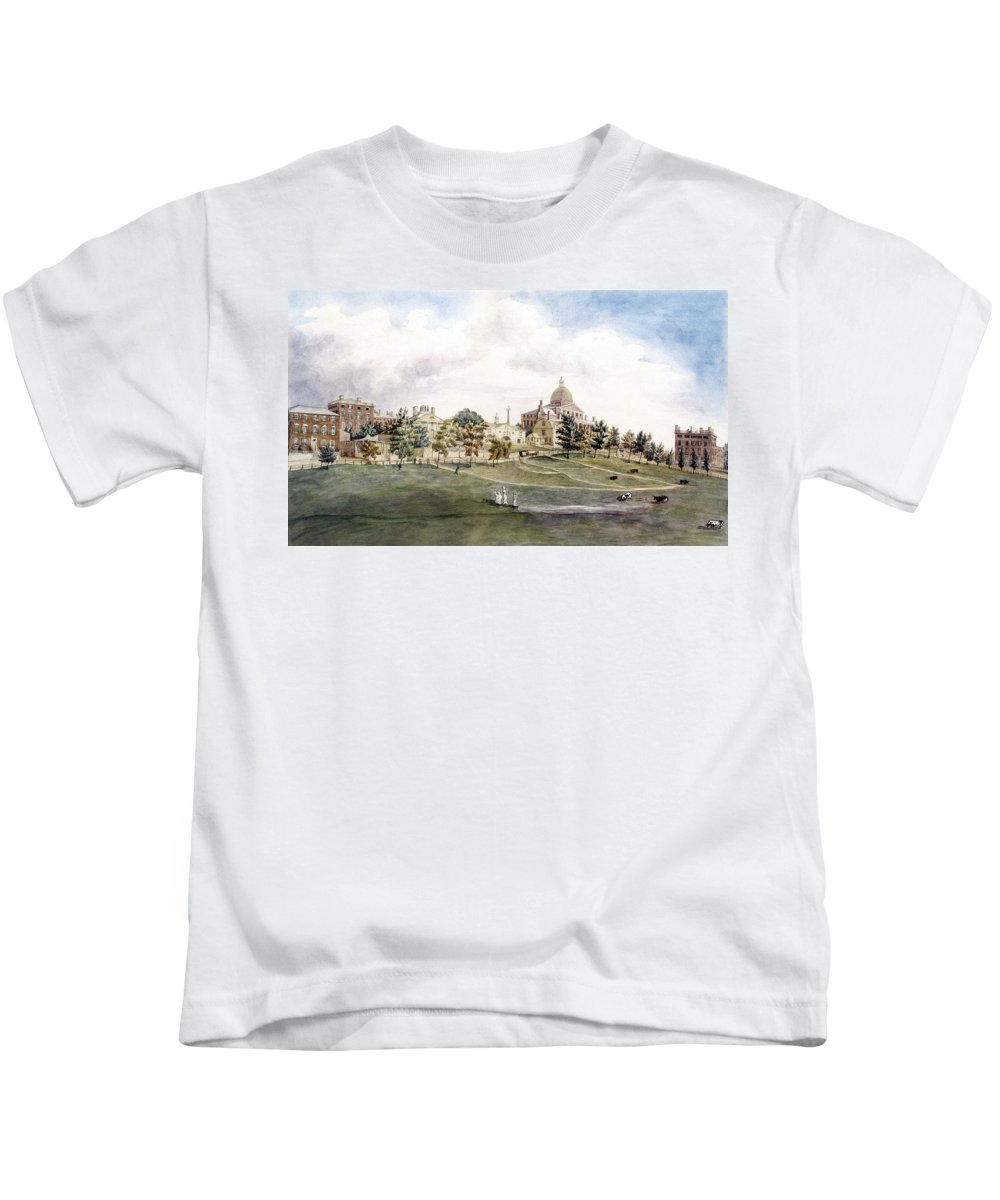 1809 Kids T-Shirt featuring the photograph Boston: Beacon Street by Granger