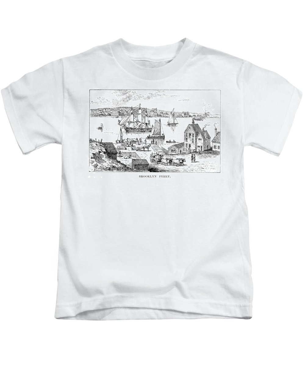 18th Century Kids T-Shirt featuring the photograph Brooklyn Ferry, C1765 by Granger