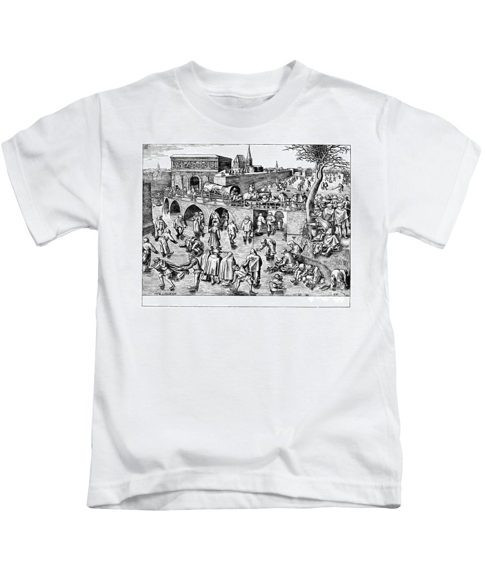 1558 Kids T-Shirt featuring the photograph Bruegel: Ice Skaters by Granger