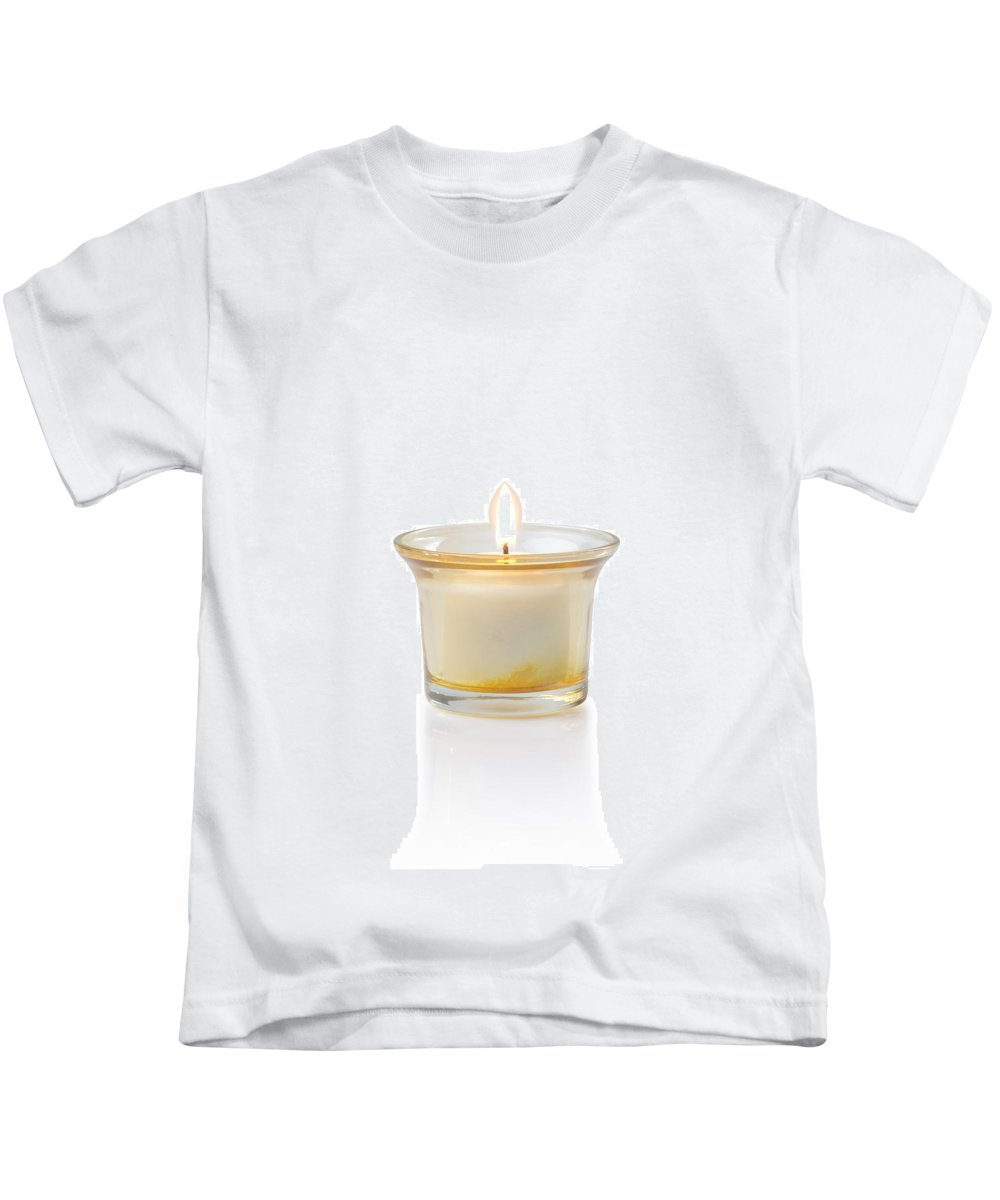 Candle Kids T-Shirt featuring the photograph Burning Candle by Atiketta Sangasaeng