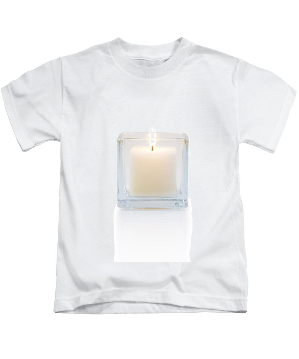 Candle Kids T-Shirt featuring the photograph Burning Candle Front View by Atiketta Sangasaeng