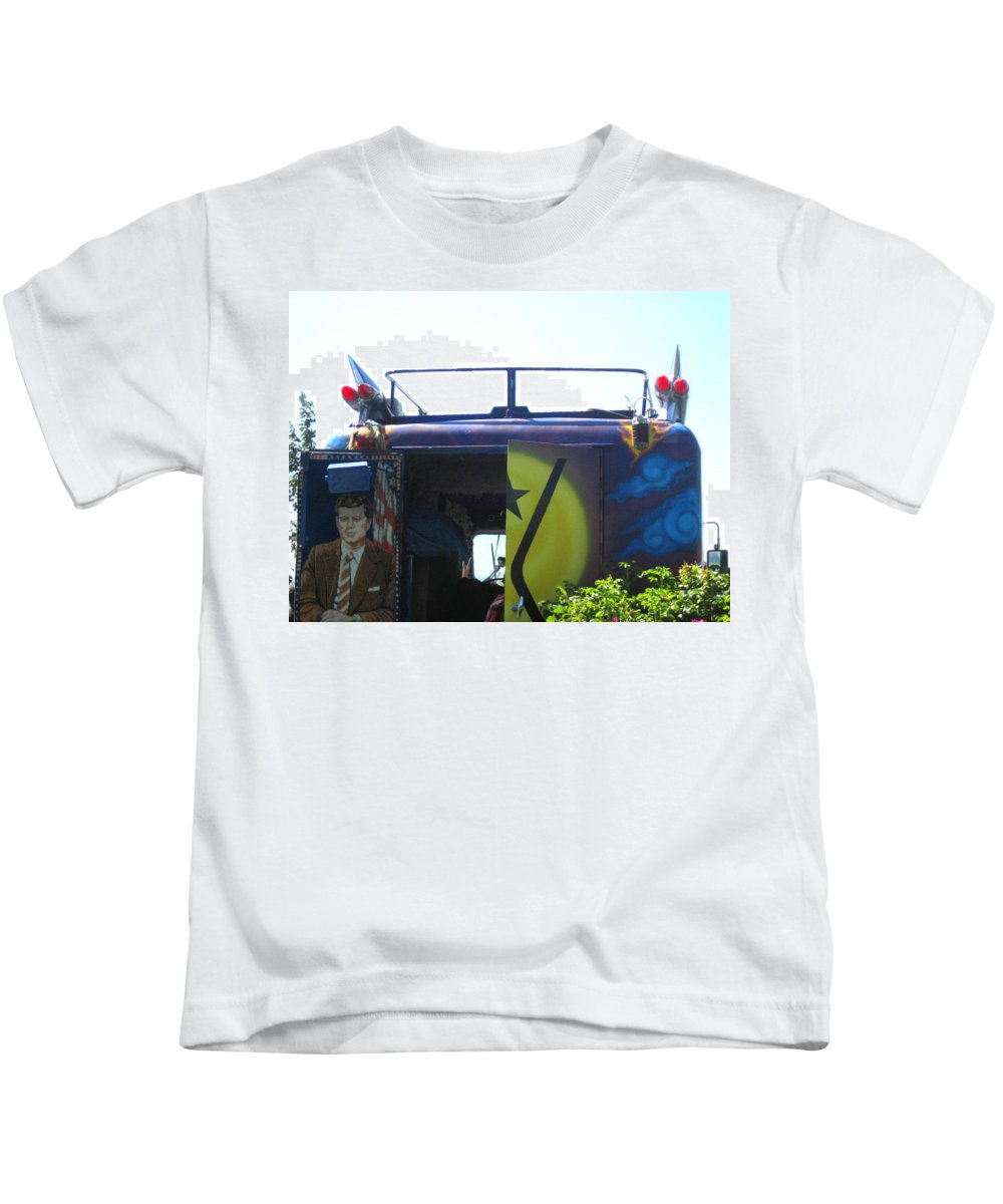 Kensey Bus Kids T-Shirt featuring the photograph Bus With A 59 Cadillac On Top by Kym Backland