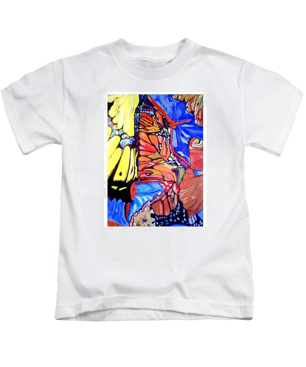 Butterfly Wings Kids T-Shirt featuring the painting Butterfly Wings by Sandra Lira
