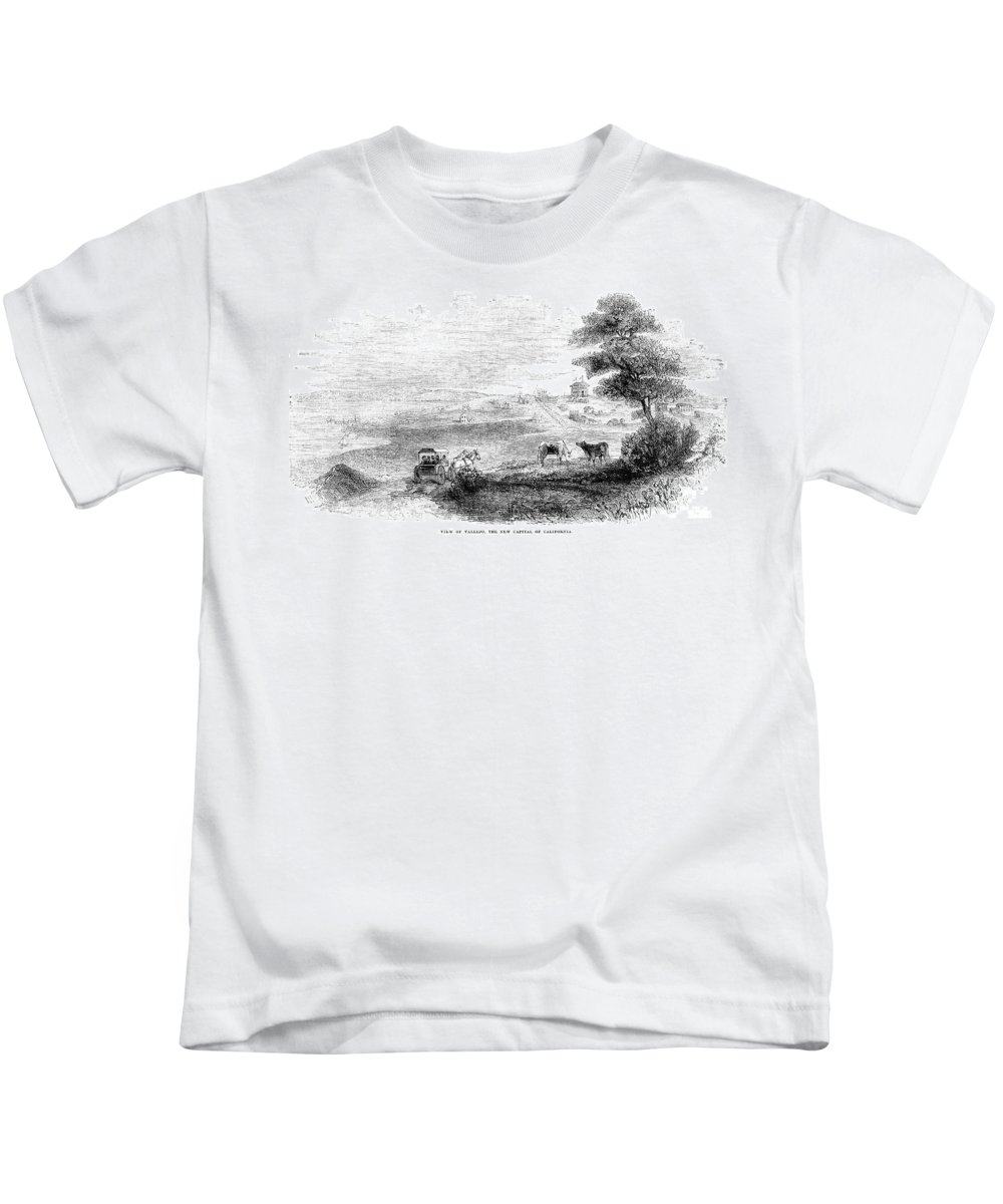 1852 Kids T-Shirt featuring the photograph California: Vallejo, 1852 by Granger