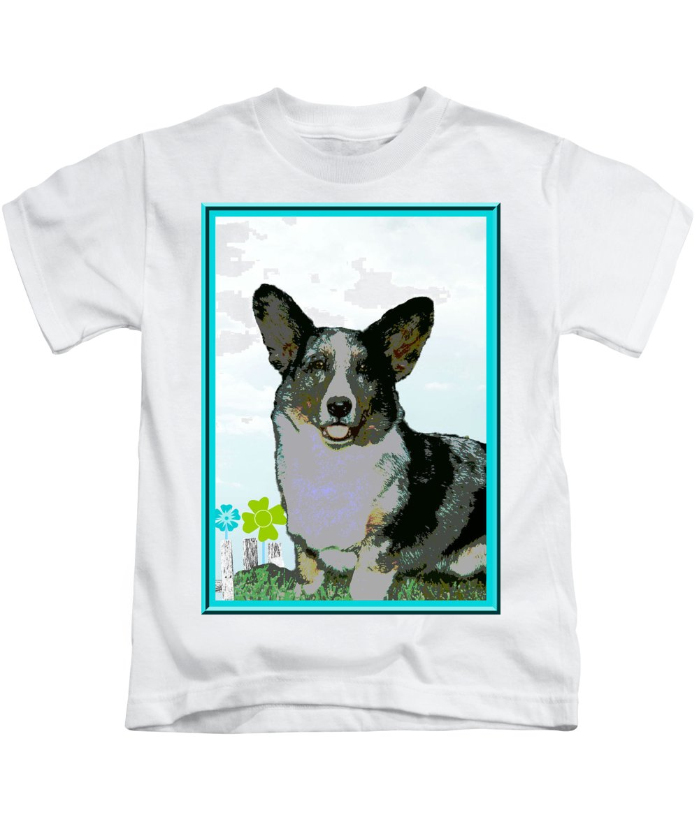 Cardigan Welsh Kids T-Shirt featuring the photograph Cardigan Welsh Corgi by One Rude Dawg Orcutt