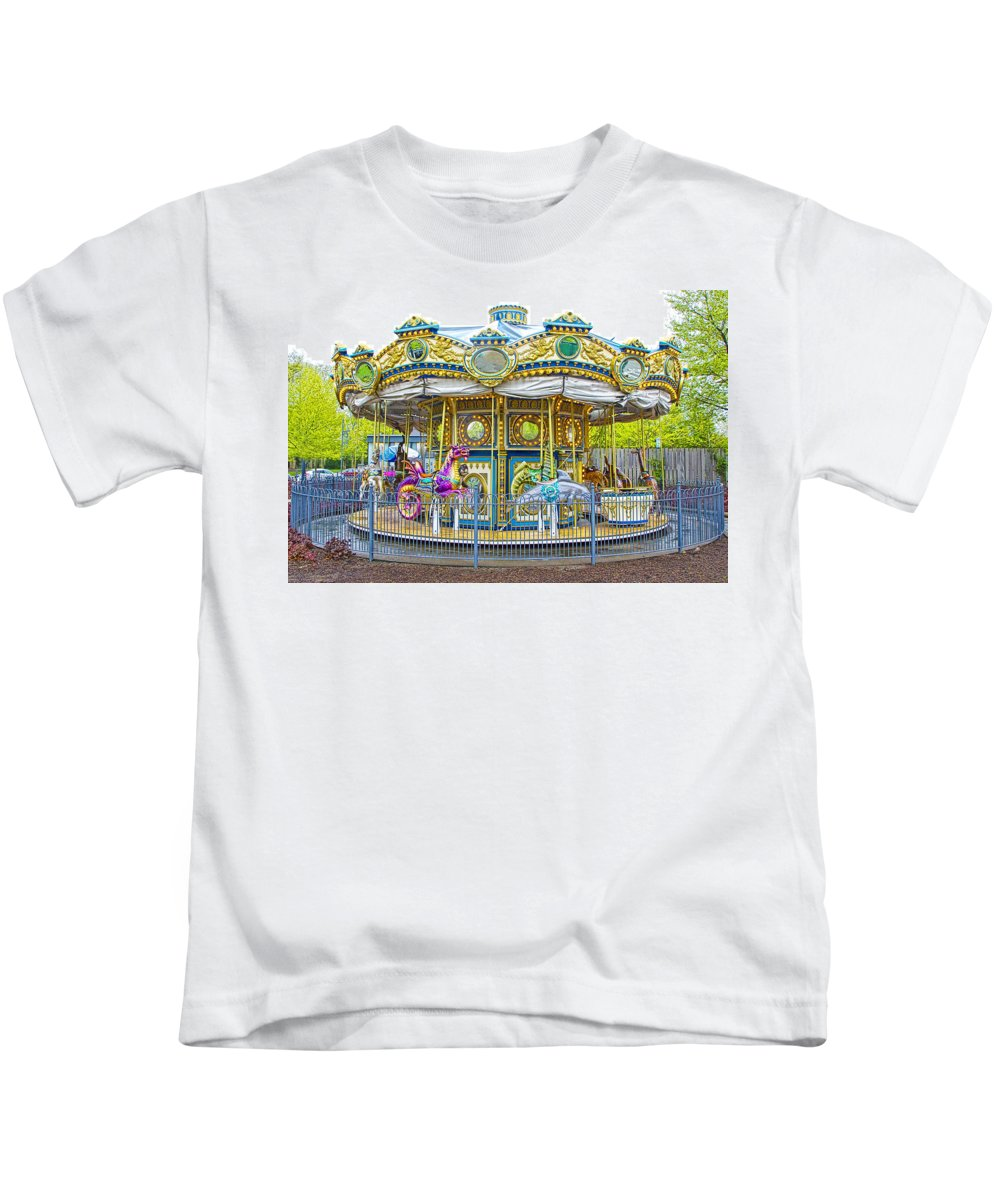 Art Kids T-Shirt featuring the photograph Carousel Ride In Pittsburgh Pennsylvania by Randall Nyhof