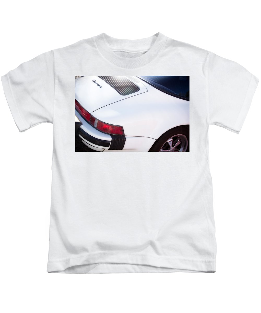Automobiles Kids T-Shirt featuring the photograph Carrera Porsche White Backend by James BO Insogna
