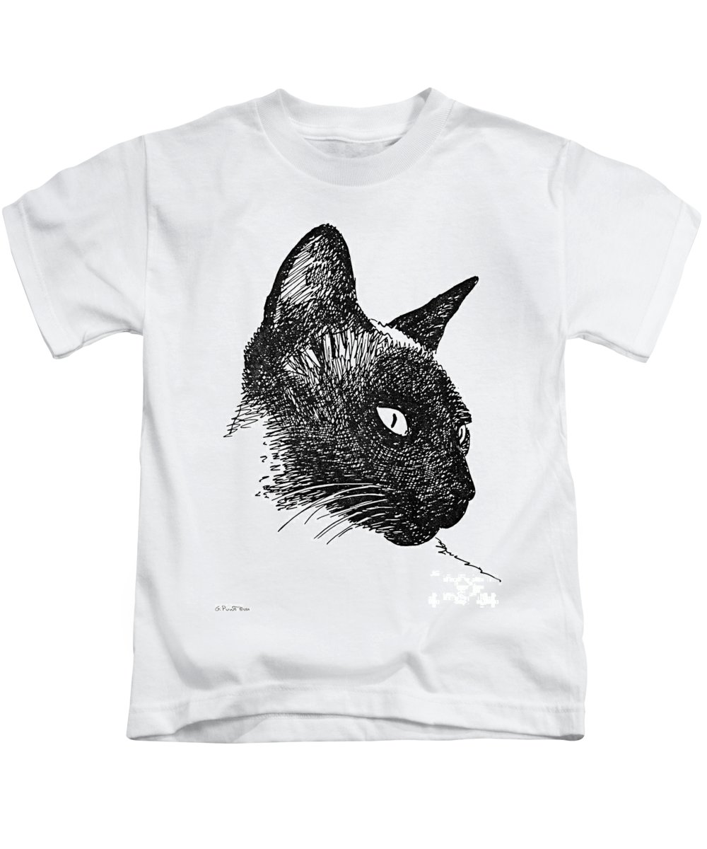 Cat Kids T-Shirt featuring the drawing Cat Drawings 5 by Gordon Punt