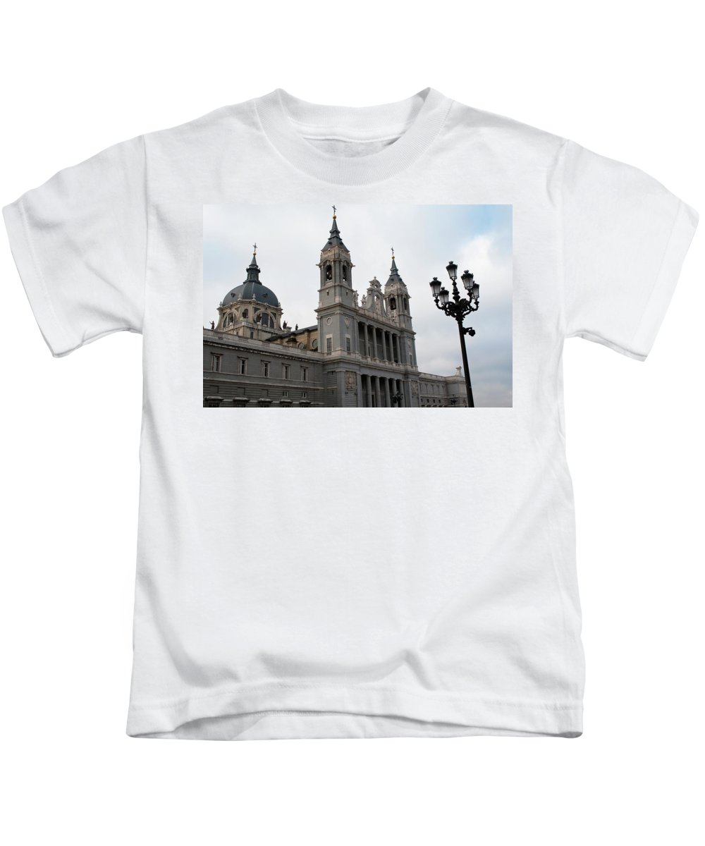 Madrid Kids T-Shirt featuring the photograph Cathedral Morning by Lorraine Devon Wilke
