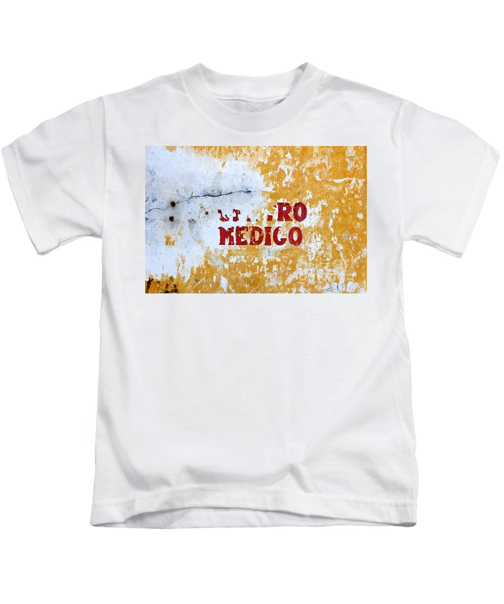 Care Kids T-Shirt featuring the photograph Centro Medico Sign by Jannis Werner